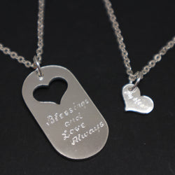 Dog Tag Father and Daughter Necklace Set