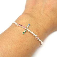 Load image into Gallery viewer, Silver Laminin Cross Bracelet