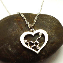 Silver Heart Serotonin Molecule Necklace