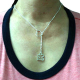 Silver Heart Puzzle Lariat Necklace