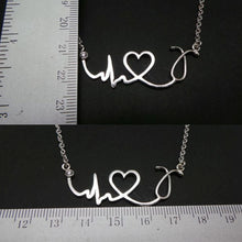 Load image into Gallery viewer, Nurse Stethoscope Clear Cz Stone Necklace