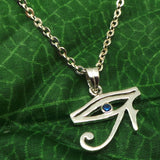 Silver Hieroglyphic Egyptian Eye of Horus Necklace