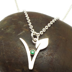 Silver Vegan Symbol Necklace
