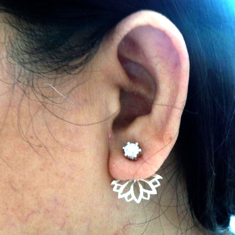 Silver Lotus Ear Jacket Stud Earring