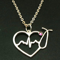 Silver Nurse HeartBeat Stethoscope Necklace