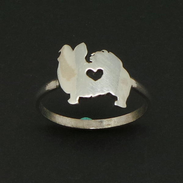 Dog Papillon Silver Ring
