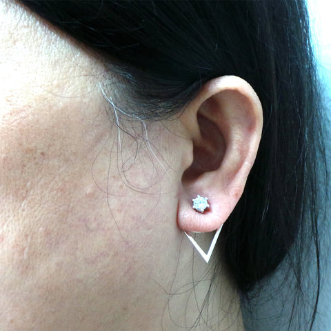 Silver Geometric Ear Jacket Stud Earring