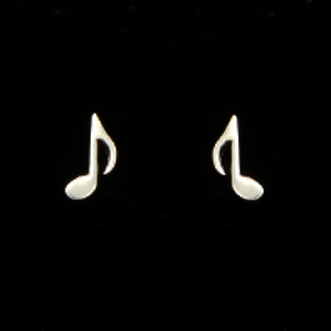 Silver Music Note Quaver Eighth Note Stud Earring