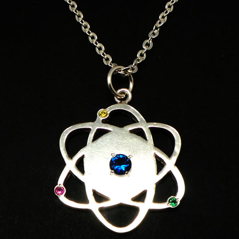 Silver Atom Symbol Necklace