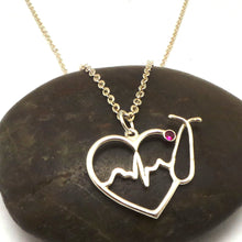 Load image into Gallery viewer, Silver Nurse HeartBeat Stethoscope Necklace