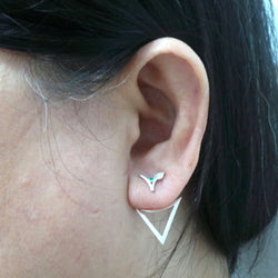 Silver Vegan Ear Jacket Stud Earring