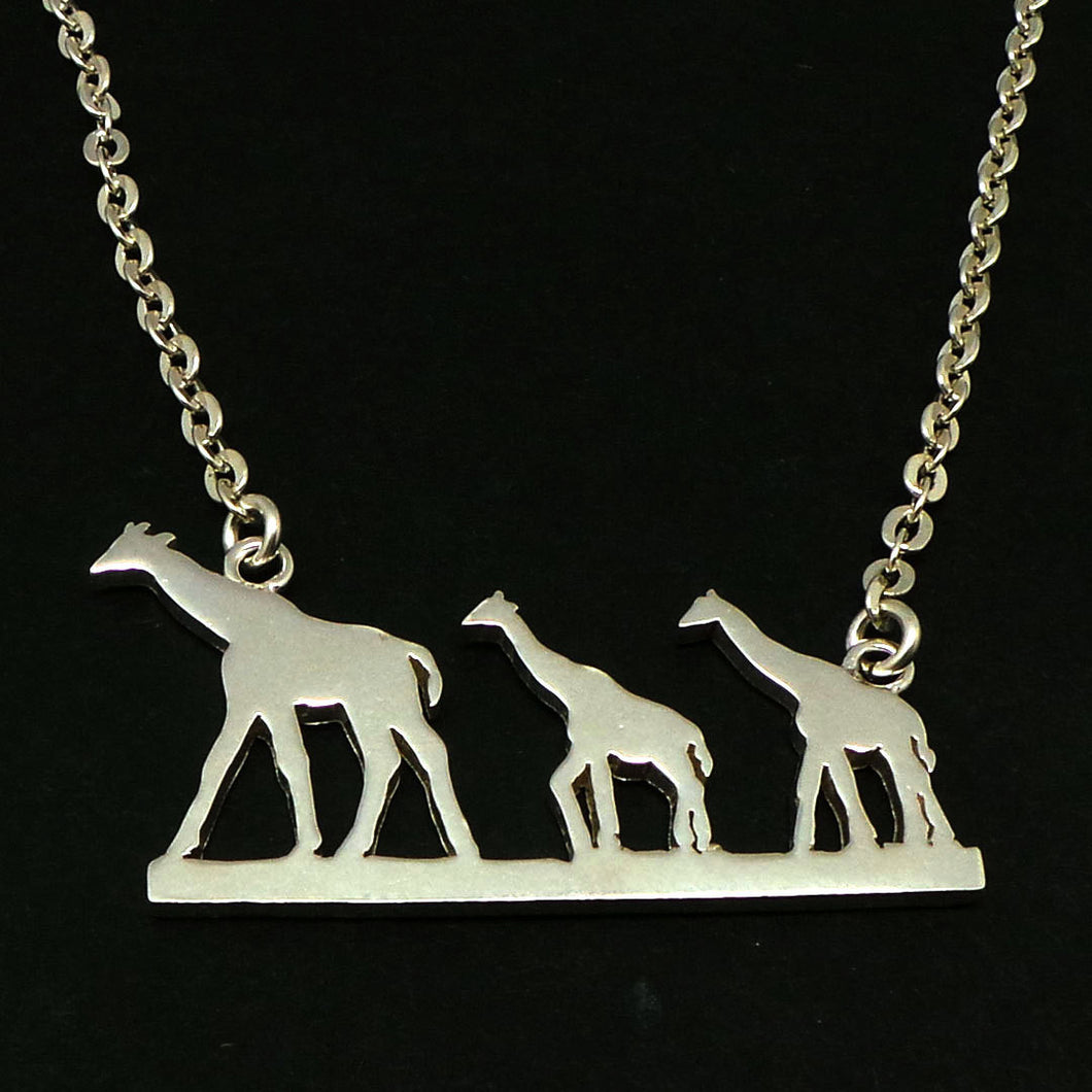 Silver Giraffe Mother and Child Necklace
