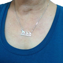 Load image into Gallery viewer, Silver Giraffe Mother and Child Necklace
