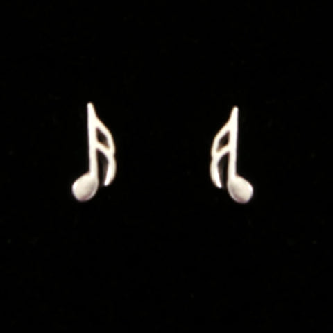 Silver Music Note Semiquaver Stud Earring