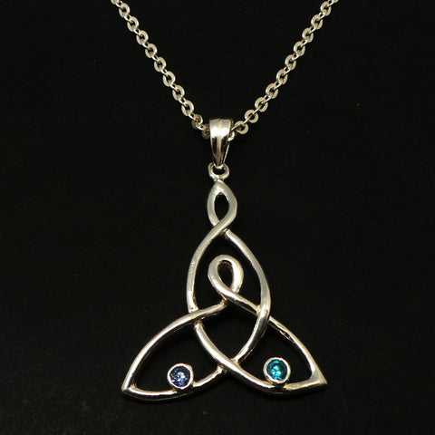Silver Celtic Mother and Child Knot Necklace