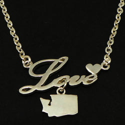 Silver Washington State Love Necklace