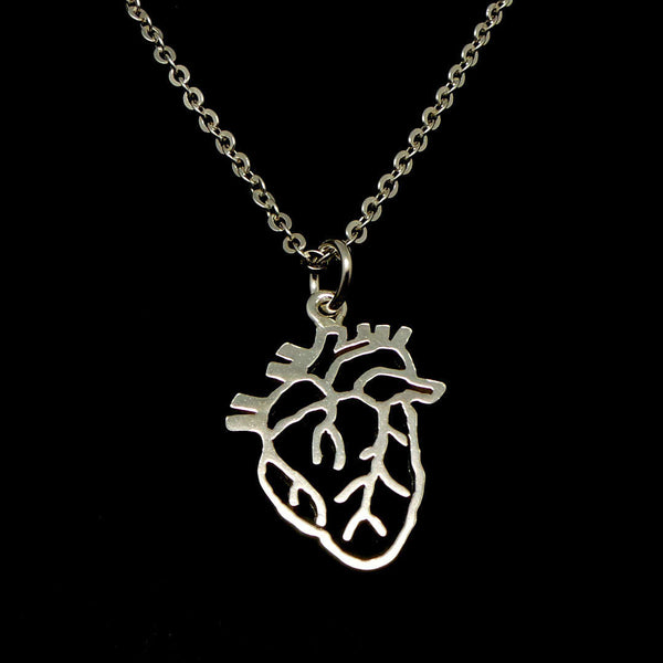 925 Silver Anatomical Heart Necklace