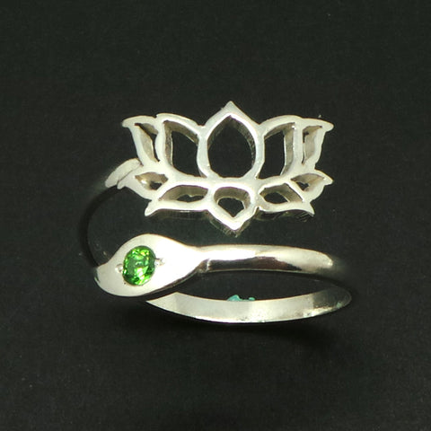 Namaste Yoga Lotus Silver Ring