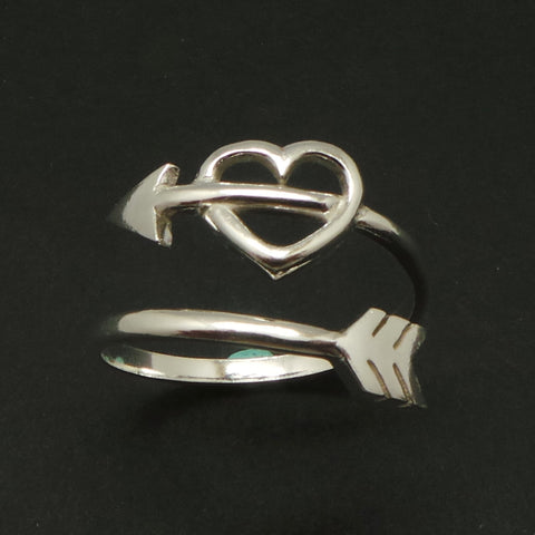 Silver Arrow Heart Ring