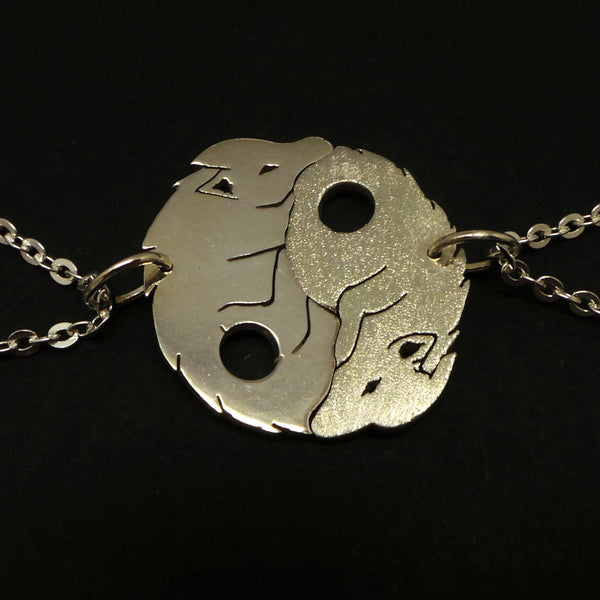 Silver Yin Yang Wolf Couple Necklace
