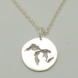 Michigan The Great Lakes Map Necklace Pendant