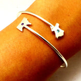 Silver Texas to Minnesota 2 States Bangle