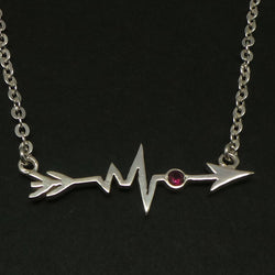 Silver Sideways Arrow Heartbeat Necklace Choker