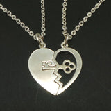 Silver Key Broken Heart Necklace