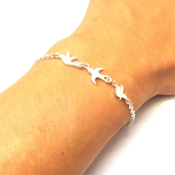 Silver 3 Best Friend Birds Bracelet
