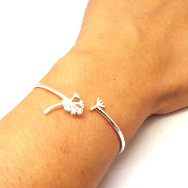 Silver Dandelion Bracelet Bangle