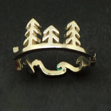 Silver Mountain Pine Tree Wave Ring
