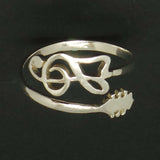 Silver Treble Clef Guitar Ring