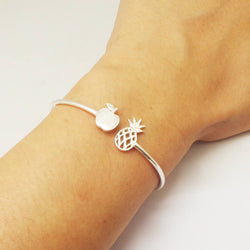 Silver Apple and Pineapple Bracelet