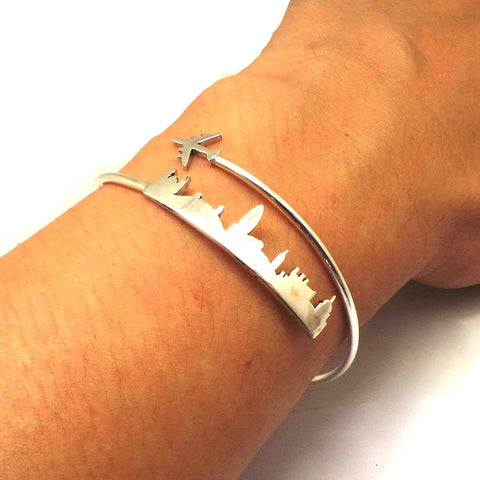 Personalized Plane London Skyline Bracelet