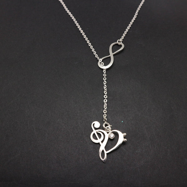 Double Infinity Music Note Lariat Necklace