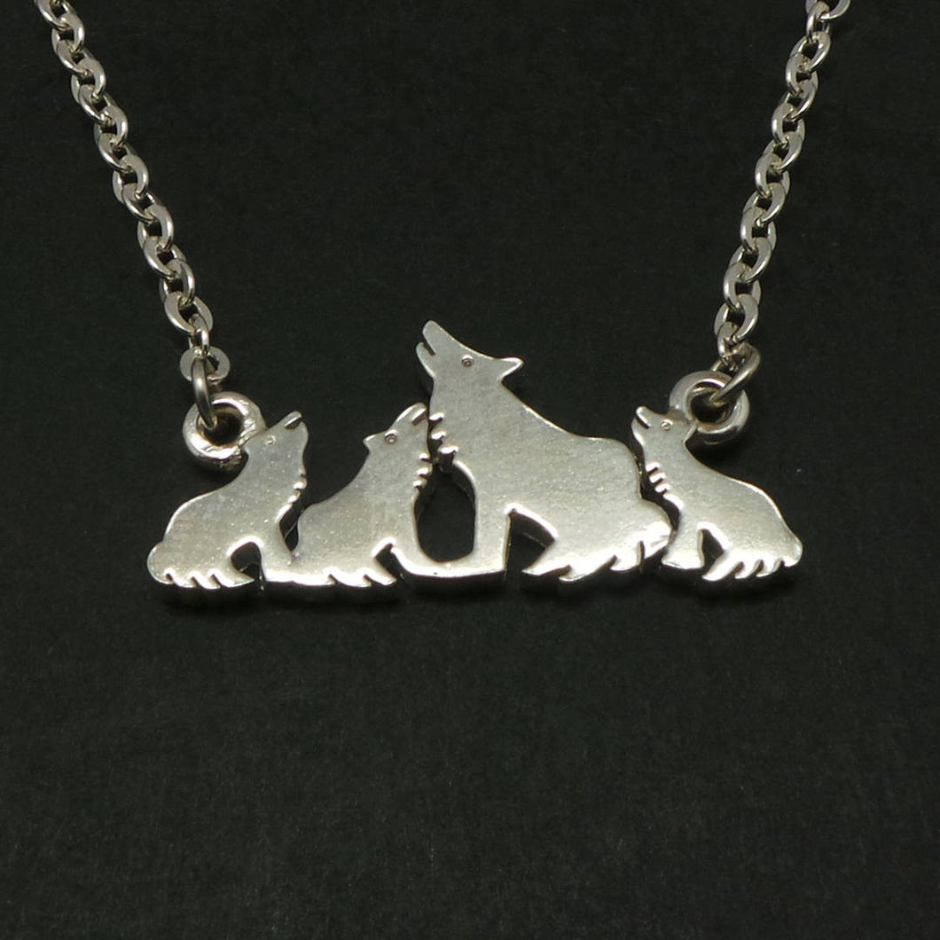 Mother and Child Wolf Necklace