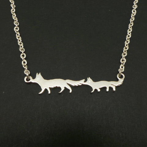 Silver Mother and Child Fox Necklace