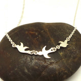 Silver 3 Best Friend Birds Necklace