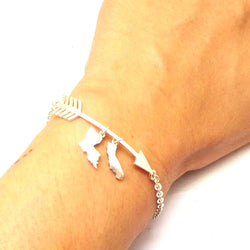 Louisiana and Florida 2 States Arrow Bracelet