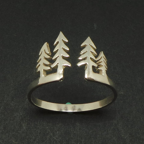 Silver Pine Tree Nature Ring