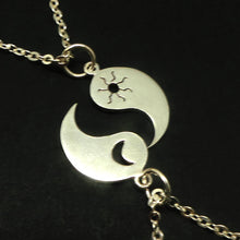 Load image into Gallery viewer, Yin Yang Sun Crescent Moon Necklace