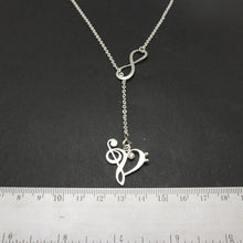 Load image into Gallery viewer, Double Infinity Music Note Lariat Necklace