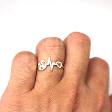 Load image into Gallery viewer, Silver Radiologic Technologist Heartbeat Ring