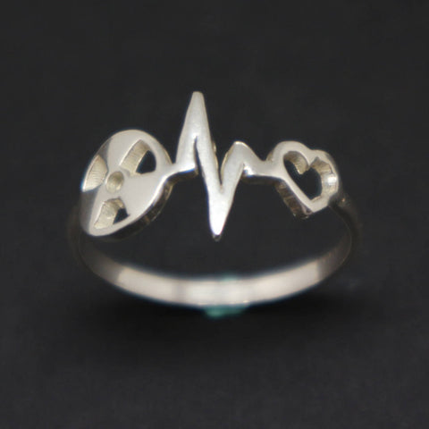 Silver Radiologic Technologist Heartbeat Ring