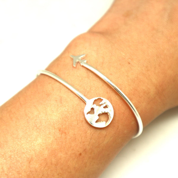 Silver Travel Map Plane Bracelet