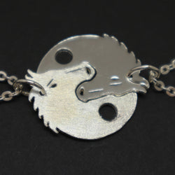 Silver Yin Yang Horse Couples Necklace