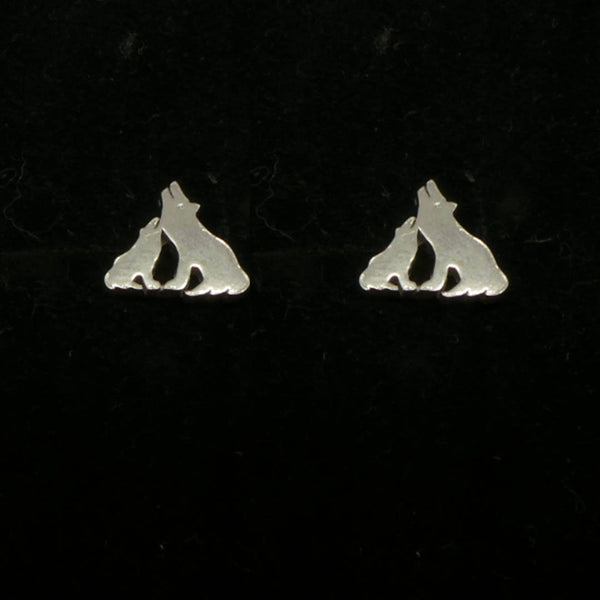 Silver Mother and Child Wolf Stud Earring