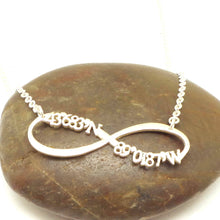 Load image into Gallery viewer, Latitude Longitude Coordinate Infinity Necklace