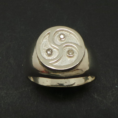 Silver Bdsm Triple Spiral Signet Ring