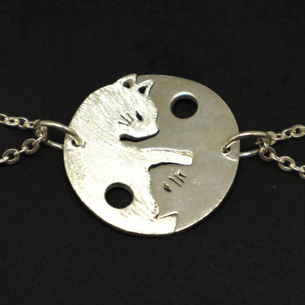 Silver Yin Yang Cat Couple Necklace Pendant
